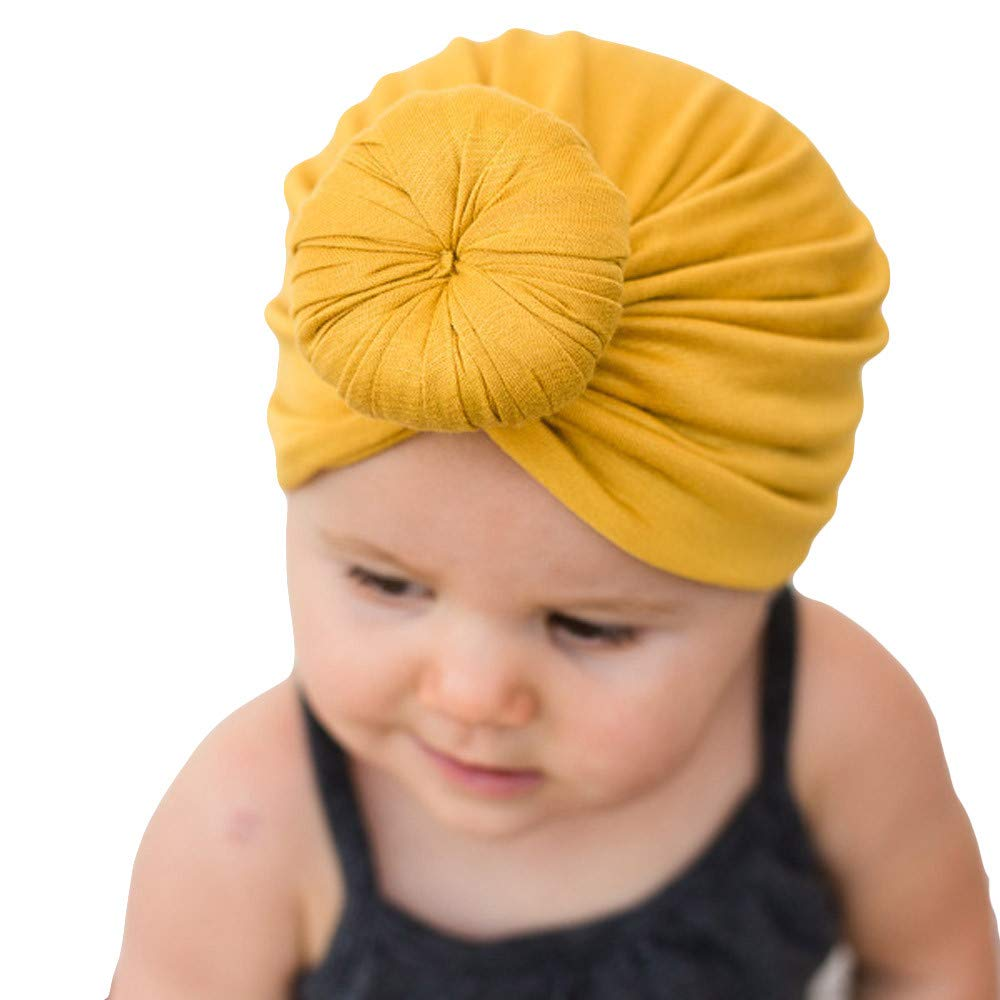 SiQing Cute Donut Newborn Baby Toddler Cotton India Hat Baby Girl Knotted Soft Turban Bow Cap Set (Yellow)