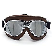 Evomosa Retro Motorcycle Helmet Goggles Aviator Pilot Style Bike Racer Cruiser Scooter Goggle Touring Half Open Helmet Eyewear Glasses