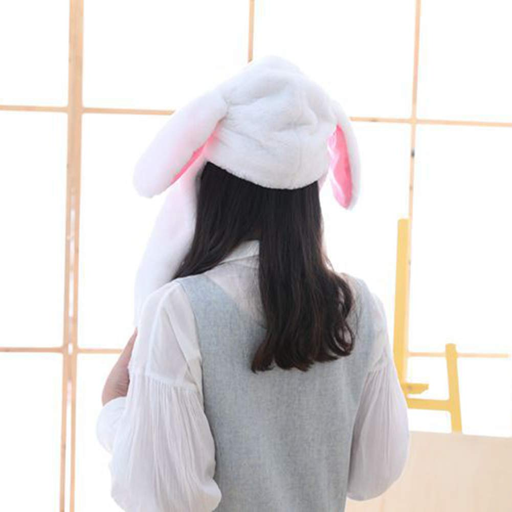Cute Plush Bunny Hat Rabbit Cap Ears Popping Up When Pressing The Paws White