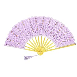 Fennco Styles Handmade Crochet Cotton Lace with Tassels Wedding Bridal Decoration Hand Folding Fan (Lavender)
