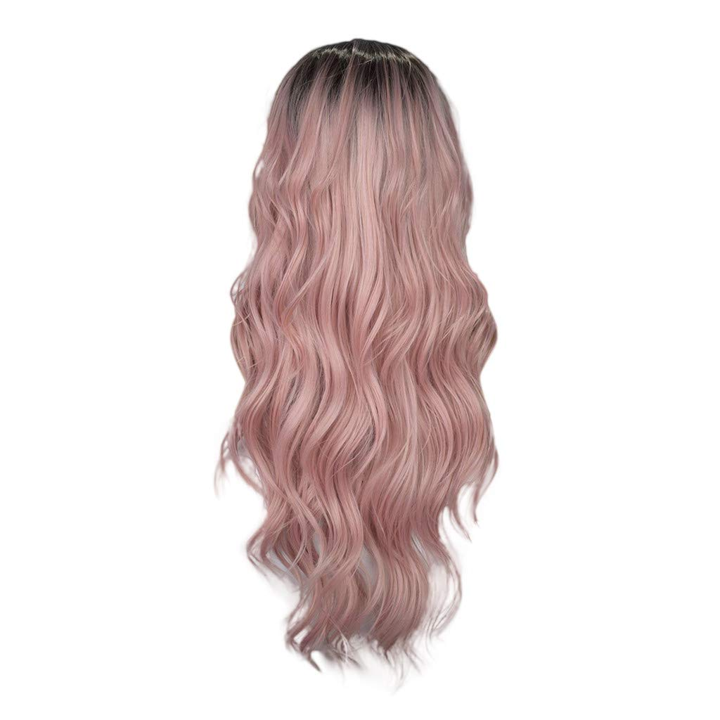 Wig,SUPPION Fashion Women Wavy Curly Gradient Dark Pink Wig Full Lace Wigs Black Women Hair Lace Front - 24 inches - Cosplay/Party/Costume/Carnival/Masquerade (A)