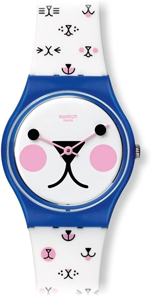 Swatch Cattitude White Kitty Face Dial White Silicone Ladies Watch GN241