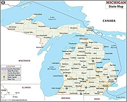 Amazon.com : Michigan State Map (36\