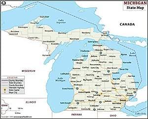 Amazon Com Michigan State Map Laminated 36 W X 28 94 H