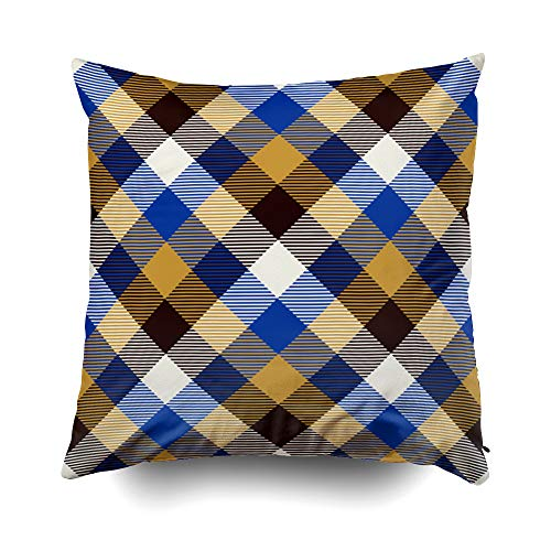 GROOTEY Decorative Cotton Square Pillow Case Covers with Zippered Closing for Home Sofa Decor Size 20X20 Inch Costom Pillowcse Throw Cover Cushion Halloween Tartan Pattern Background Black Blue Gold -