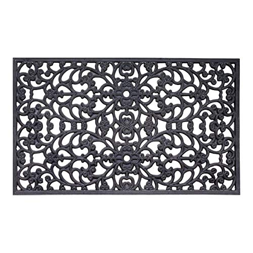 TisYourSeason Elegant Outdoor Black Scrollwork Rubber Non Slip Door Mat 18
