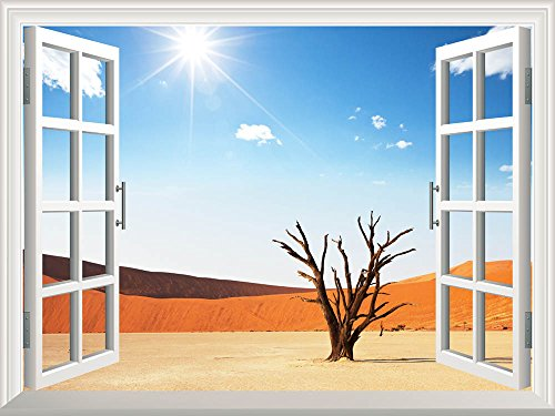 Removable Wall Sticker Wall Mural Dead valley in Namibia Creative Window View Wall Decor