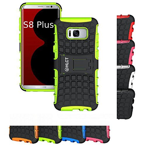 Price comparison product image Galaxy S8 Plus Case, HLCT Rugged Shock Proof Dual-Layer PC and Soft Silicone Case With Built-In Kickstand for Samsung Galaxy S8 Plus (2017) (Green)