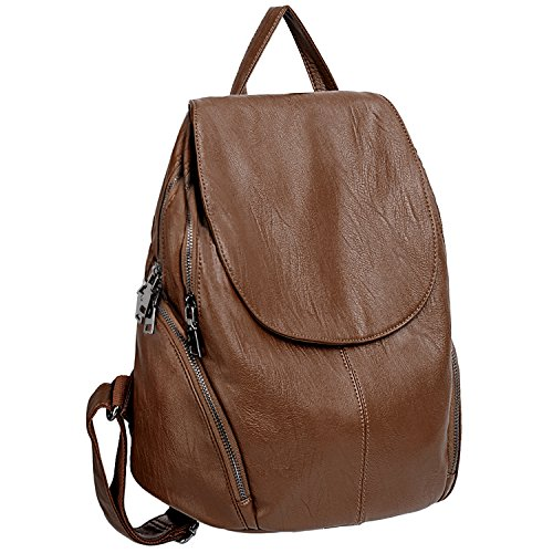 Glamour Business Card - UTO Women Backpack Purse PU Washed Leather Large Capacity Ladies Rucksack Shoulder Bag Brown_