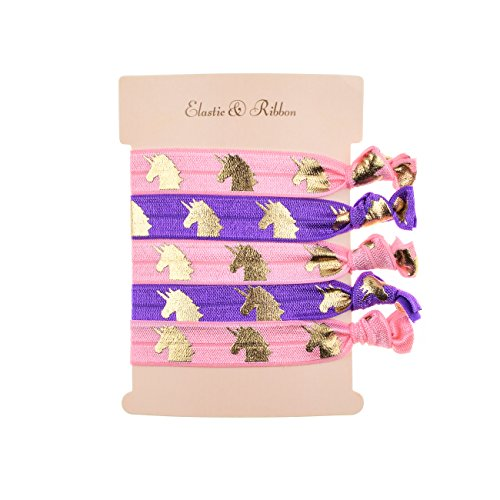 DDazzling Girls Unicorn Hair Ties Elastic Hair Ties Party Favors (Purple Pink)