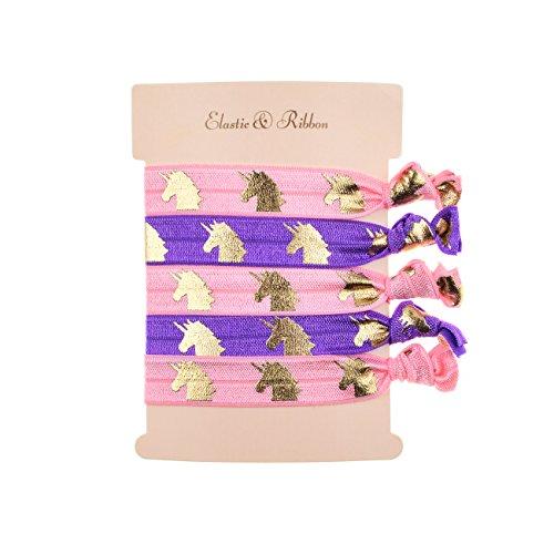 DDazzling Girls Unicorn Hair Ties Elastic Hair Ties Party Favors (Purple Pink)