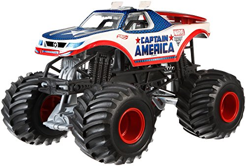 Captain+America Products : Hot Wheels Monster Jam 1:24 Die-Cast Captain America Vehicle