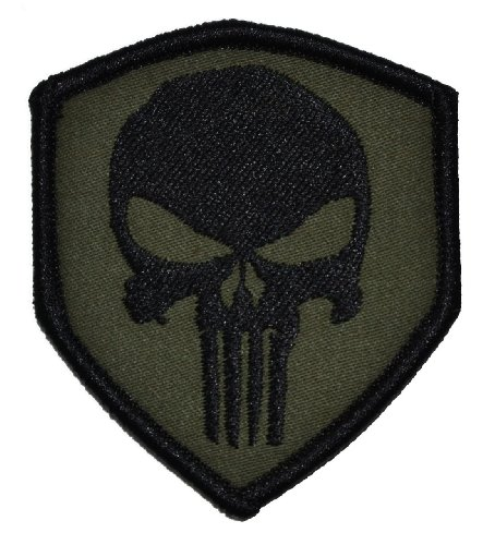 Punisher Skull 2.5x3 Shield Morale Patch - Olive Drab