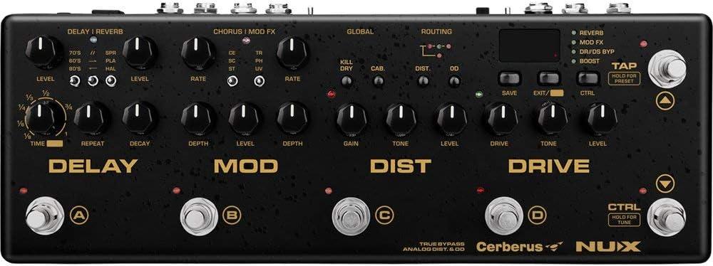 NUX Cerberus - Pedal multifunción de efecto de guitarra interior de ruta IR cargador analógico, distorsión de retraso digital, efectos de modulación de retardo digital