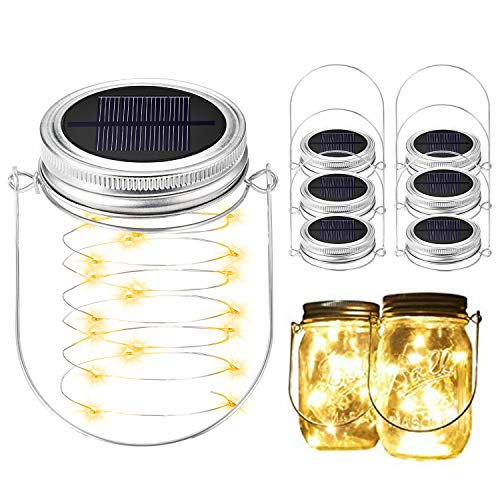 BizoeRade Solar Mason Jar Lights, Dual Row Solar Powered 20 LED Fairy Firefly String Lights(6 Lid Lights and 6 Hangers Included),Fit Regular Mouth Mason Jars for Outdoor Decoration -Warm White (Jars For Mason Solar Caps)
