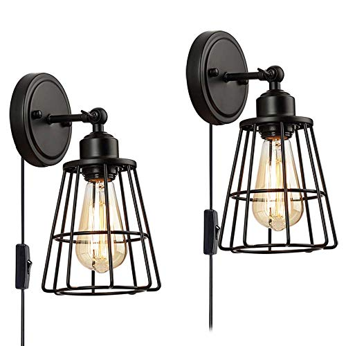 2 Pack 1 Light Plug In or Hardwire Industrial Cage Wall Sconce with onoff Toggle Switch, Vintage Wall Lamp Farmhouse Style Edison E26 Base for