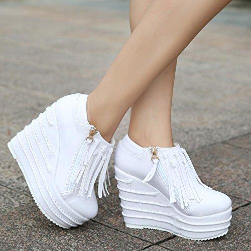 talón Las oficina Alto comodidad Carrera Cuña De cuero Patente La Al Mujeres Planos Flatform Botas Libre Zapatos Y White Del Tobillo Aire Lvyuan 8IxPqwCW