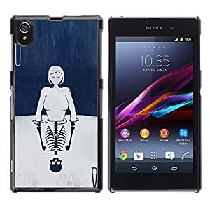 Paccase / SLIM PC / Aliminium Casa Carcasa Funda Case Cover - Cards Girl Deep Reflection Skeleton - Sony Xperia Z1 L39 C6902 C6903 C6906 C6916 C6943