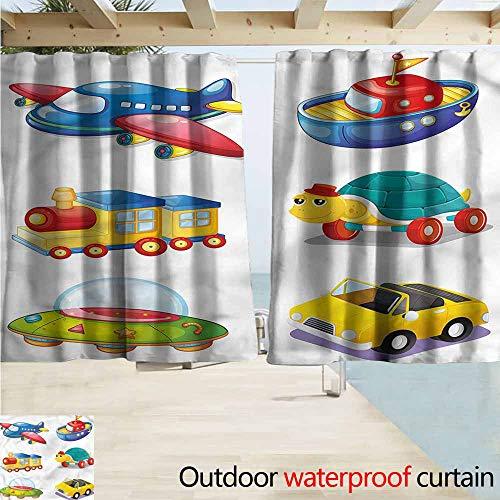 Beihai1Sun Indoor/Outdoor Print Window Curtain Boys Room UFO Space Ship Train Drapes for Outdoor Decor W72x45L ()