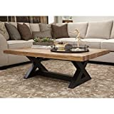 Ashley Furniture Signature Design - Wesling Coffee Table - Cocktail Height - Rectangular - Brown Top with Black Base