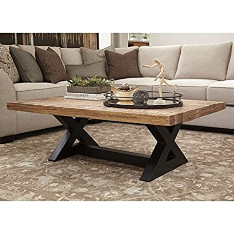 Ashley Furniture Signature Design - Wesling Coffee Table - Cocktail Height - Rectangular - Brown Top with Black (Rectangular Table Base)