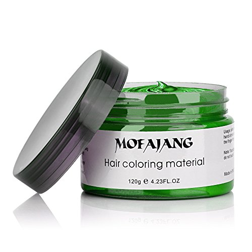 MOFAJANG Hair Color Wax, Instant Hair Wax,Temporary Hairstyle Cream 4.23 oz, Cyan, Green Hair Pomades, Natural Hairstyle Wax for Men and Women (Green Temporary Hair Color)