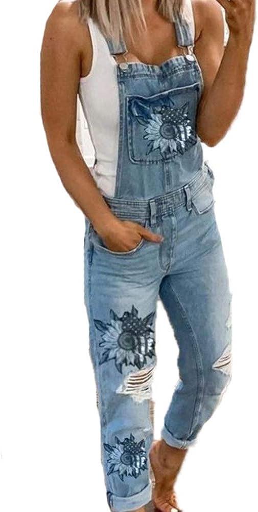 Ladies Denim Jumpsuit Overalls Trousers Kewing Sunflower Denim Overalls Blue