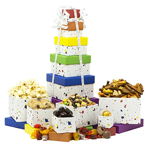 Birthday Gift Basket Box Tower - 6 Tier (Birthday Gift Baskets Dad)