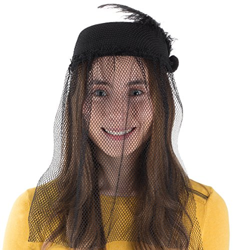 Tigerdoe Pillbox Hat - Funeral Hats for Women - Hat with Veil - Widow Hat with Veil - Vintage Hats for Women]()