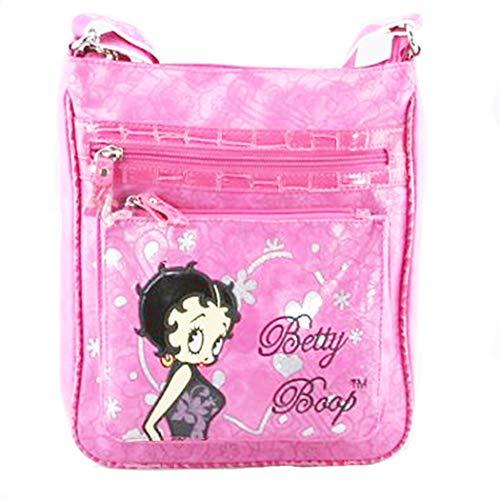Betty Boop fuchsia pink cross-body messenger bag glitter Rhinestone travel pouch