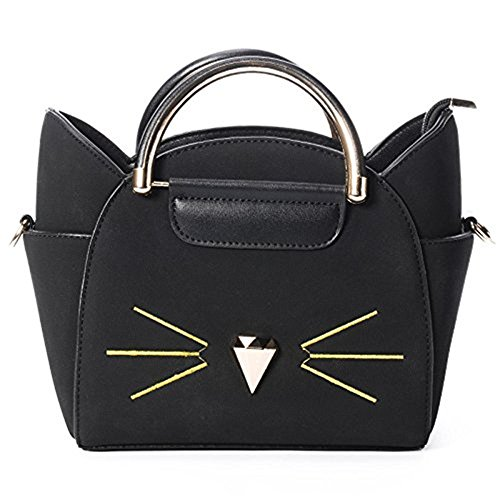 baonmy Damen Fashion Top Griff Cute Cat Cross Body Schultertasche schwarz L0T0Eg