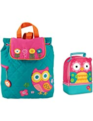 Stephen Joseph Quilted Owl Backpack and Owl Lunch Pal Combo - Cute Girls Backpacks
