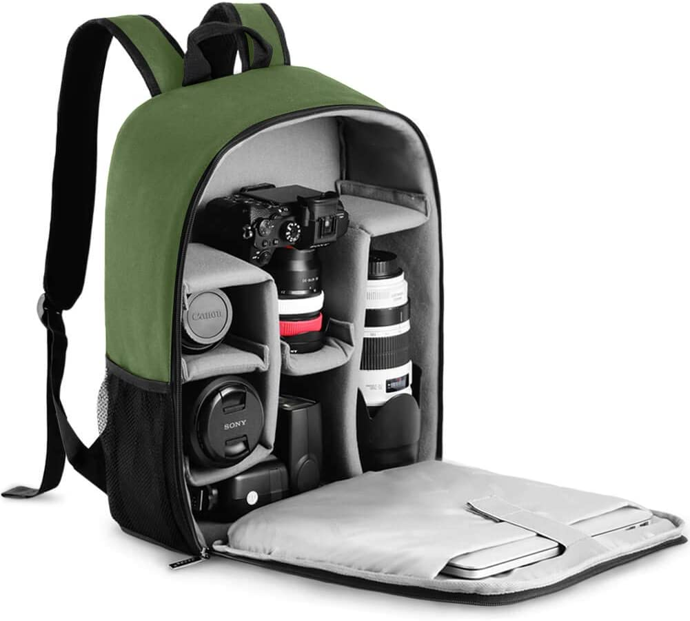 "CADeN Camera Backpack Bag with Laptop Compartment 15.6"" for DSLR/SLR Mirrorless Camera Waterproof, Camera Case Compatible for Sony Canon Nikon Camera and Lens Tripod Accessories Green"