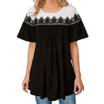 Mujer Camisetas ,YUYOUG Mujeres manga corta encaje patchwork flor de verano floral blusa suelta camiseta