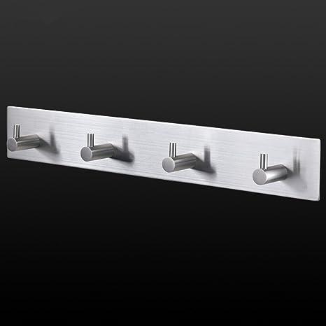 autoadhesivo titular de la clave puerta toalla percha soporte de pared para colgar gancho para toalla de mano Llaves gorro raqueta (10inch hook rail)
