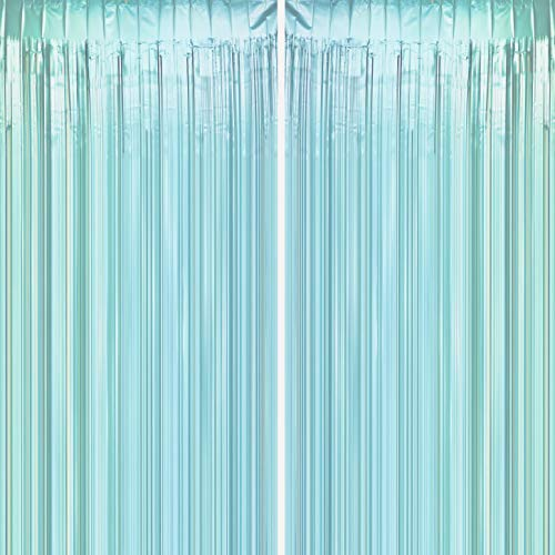 JUICY MOOM Aqua Blue Tinsel Foil Fringe Curtains - Under The Sea Baby Shower Birthday Photo Backdrops Bachelorette Wedding Bridal Shower Party Decor Photo Booth Props Backdrops Decorations, 2pc]()