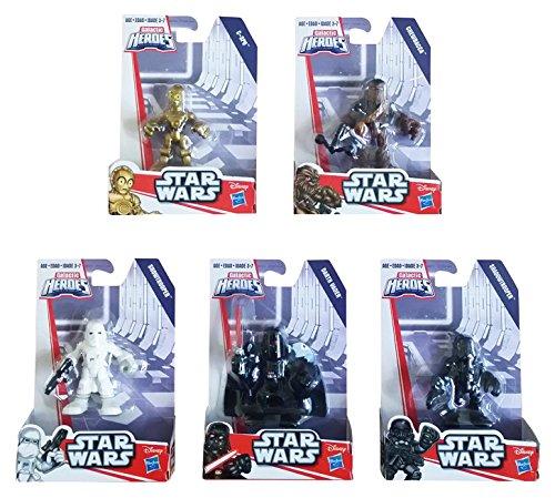 Playskool Disney Star Wars Galactic Heroes Action Figure 5 Pack Bundle Including: C3PO, Chewbacca, Snow Trooper, Darth Vader & Shadow Trooper