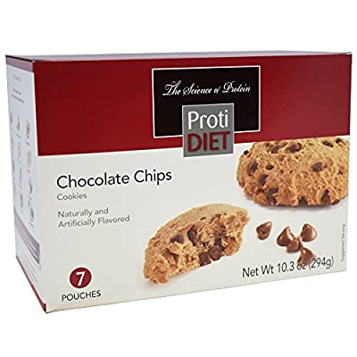 ProtiDiet - Chocolate Chip Diet Cookies | Low Calorie, Reduced Fat, 15g of Protein (7 Pouches, 294g)