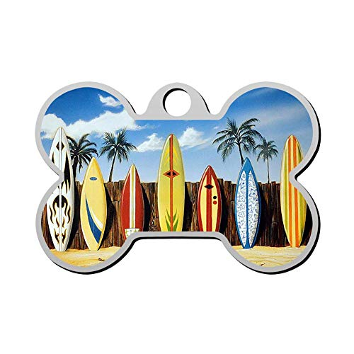 (Custom Palm Tree Beach Surfboard Pet ID Tag Bone Shape Dog Tags & Cat Tags Identity Tags)