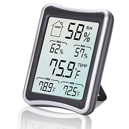 Humidity Meter, [2018 Newest Version]E2Buy Multifunctional Temperature Humidity Monitor LCD Indoor Digital Room Thermometer with Min/Max Records, °C/°F Switch, Accurate Readings for Home Office,etc.