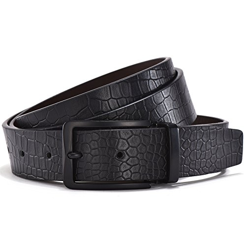 ZHITD Men's Dress Leather Belt with Snake Scales 32mm Wide Big and Tall Sizes