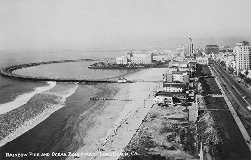 Long Beach, CA - Rainbow Pier and Ocean Blvd - Vintage Photograph (12x18 Art Print, Wall Decor Travel ()