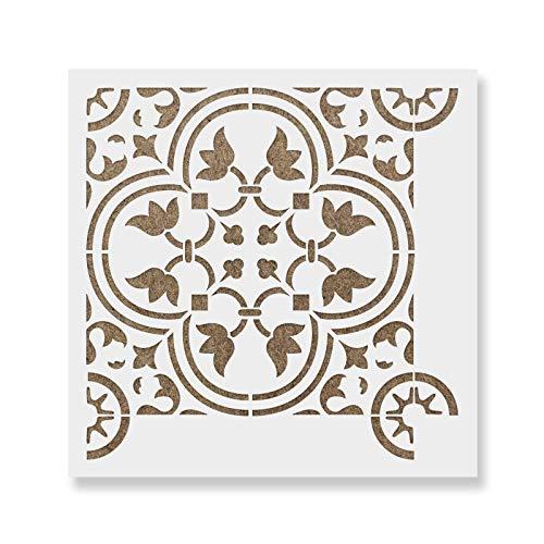 Rosario Tile Stencil - Reusable Floor & Backsplash Scandinavian Tile Stencils for Home Decor, Furniture, and Walls 16