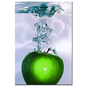 Trademark Fine Art Apple Splash II by Roderic Stevens Canvas Wall Art, 22x32-Inch