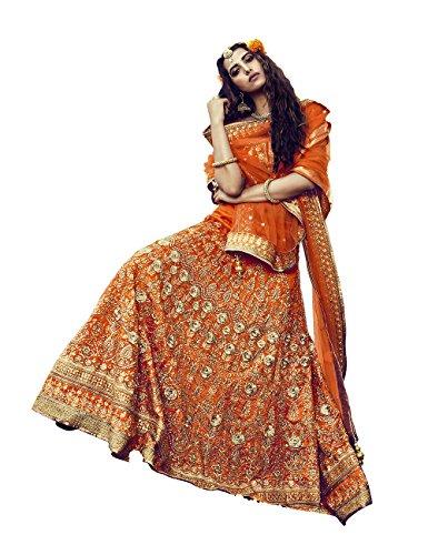 PCC Womens Silk Fabric Orange Pretty Circular Lehenga Style 81126