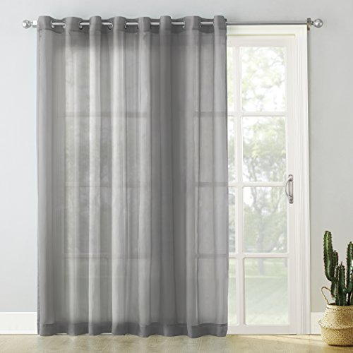 No. 918 Emily Extra-Wide Sheer Voile Sliding Patio Door Curtain Panel, 100' x 84', Charcoal Gray