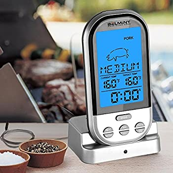 Wireless BBQ Meat Thermometer with Multifunction Backlit Digital Display | 100 Foot Range by Belmint