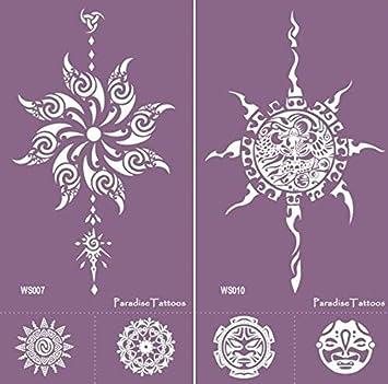 Sol, mandala – Plantillas reutilizables para tatuaje 2 hojas ...