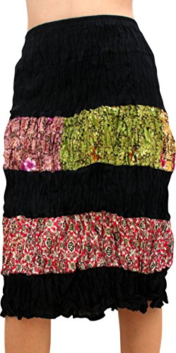 Batik Cotton Skirt - Full Funk Ladies Paneled Batik Strip On Cotton Form Fitting Short Skirt, Small, Black Gold