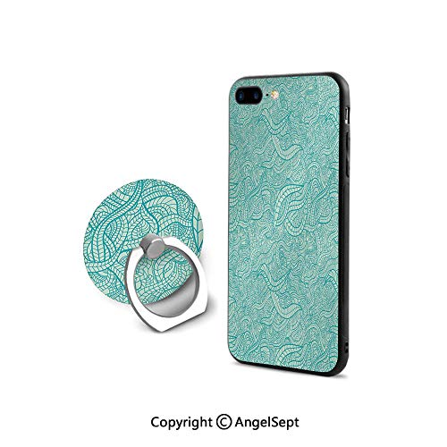 - iPhone 8 Case/iPhone 7 Case with Ring Holder Kickstand,Vintage Botanic Nature Leaves Veins Swirls Ivy Mosaic Inspired Image Print Decorative,Retail Packaging,Turquoise and White